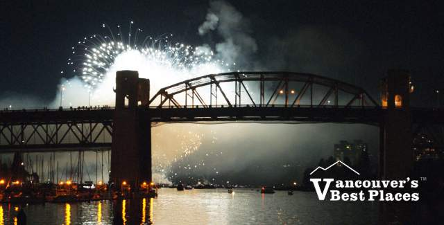 Burrard Street Bridge and Fireworks
