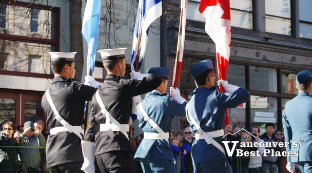 Remembrance Day Cadets with Flags