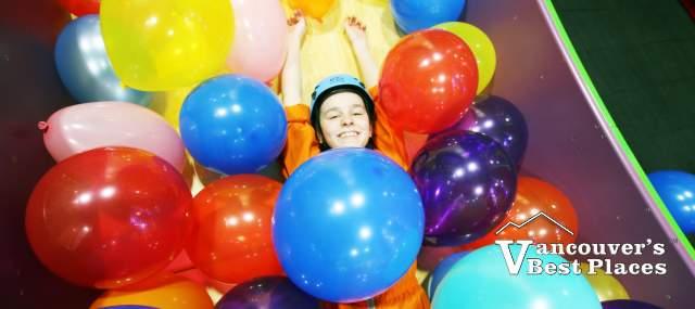 Girl and Balloons at Clip 'n Climb