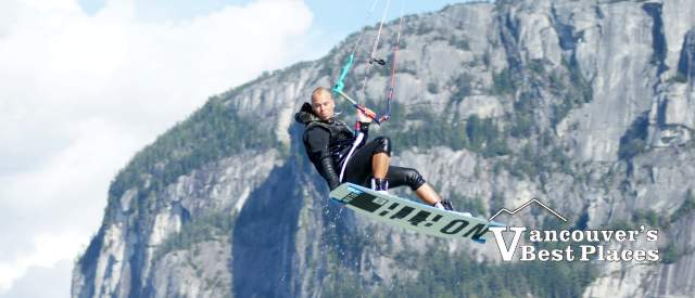 Kiteboarder and Stawamus Chief