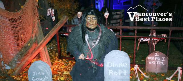 Exterior of Anmore Manor at Halloween
