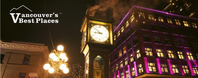 Gastown Clock at Night in Winter