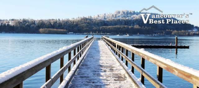 Cates Park Pier in Snow