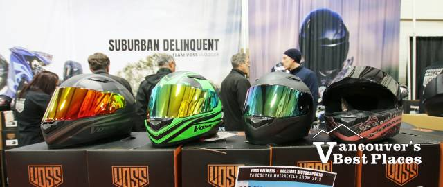 Helmets Display at Motorcycle Show
