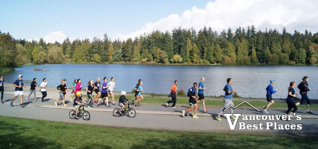 Jogging by Stanley Park's Lost Lagoon