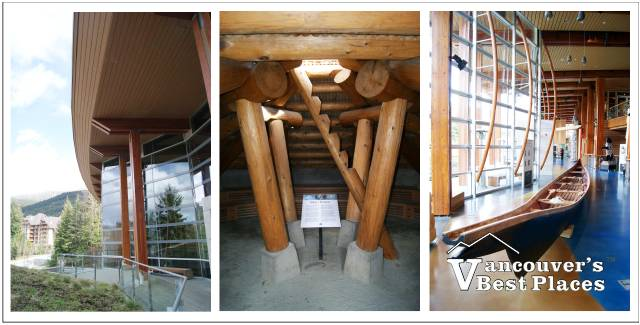Three photos of scenes from the Squamish Lil'wat Cultural Centre in Whistler