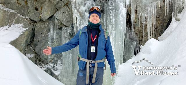 Snowshoeing by a Small Waterfall