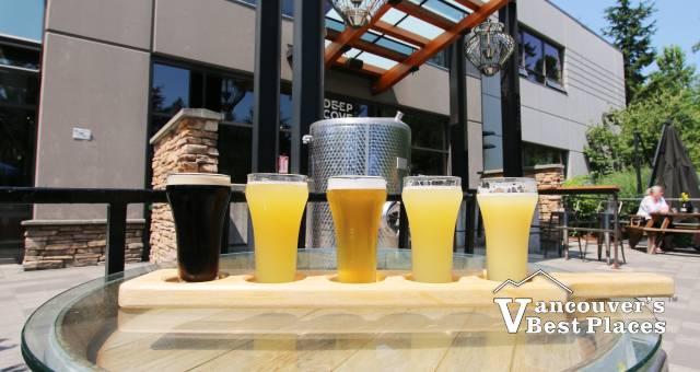 Flights of Beer at Deep Cove Brewery