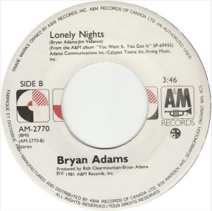 Bryan Adams - Lonely Nights 45 (A&M Canada).JPG