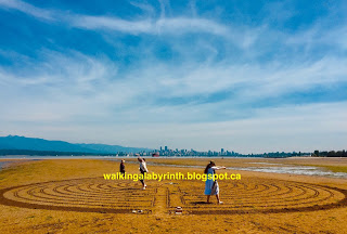 Sand labyrinth walk at Spanish Banks