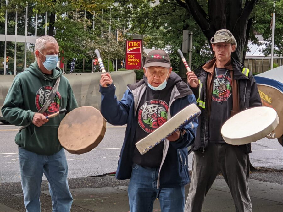 a victory for wild salmon: photo drummers form the Wild Salmon Defenders Alliance