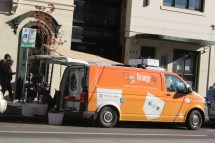 Orange Sky's Van located in Fitzroy, waiting for the homeless and helping wash the clothes for free