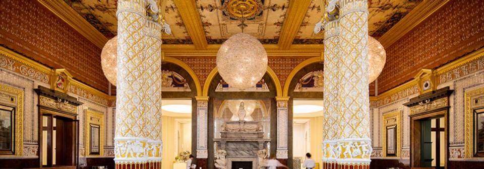 Gamble room by Joseph Gamble in the V&A restaurant. Beatiful white marble and gold columns and decoration.