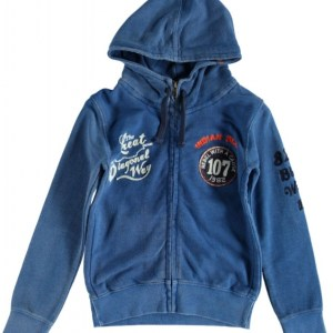 Indian Blue sweatvest hoodie in denimlook
