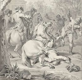 Dodelijke val van Willem III van zijn paard (detail) - Jacobus Buys (Rijksmuseum Amsterdam)