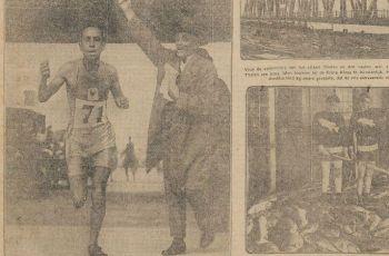 De marathon-winnaar Ahmed Boughéra El Ouafi komt het stadion binnen - Leeuwarder nieuwsblad, 8 augustus 1928 (KB)