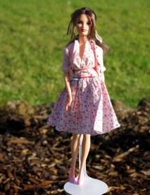 Teresa Wave C in her original dress and cardigan.