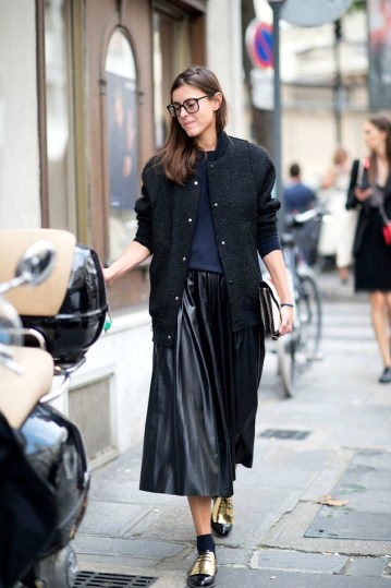 Le-Fashion-Blog-Street-Style-Bomber-Jacket-Leather-Pleated-Skirt-Celine-Gold-Oxfords-Paris-Fashion-Week-Via-NY-Mag