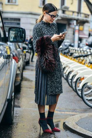 ankle-socks-heels-pleated-skirt-street-style