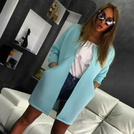 New-Natural-Color-Casual-women-jacket-wide-waisted-Open-Stitch-O-neck-Long-sleeves-coat