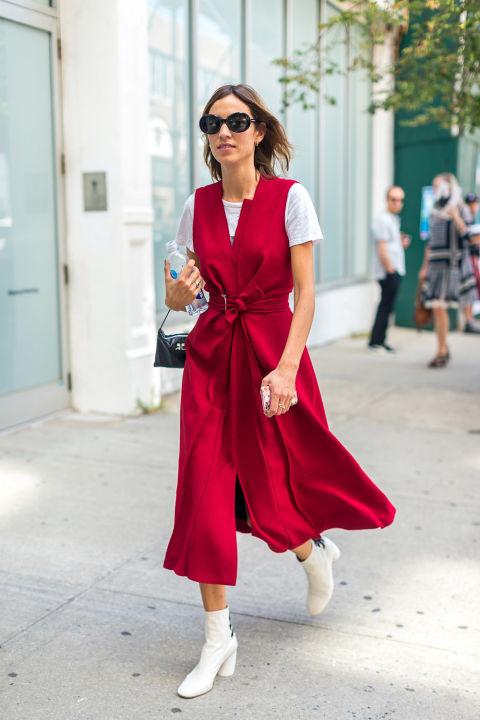 wrap-dress-red-white-boots-platform-mod-booties-nyfw-street-style-hbz-alexa-chung
