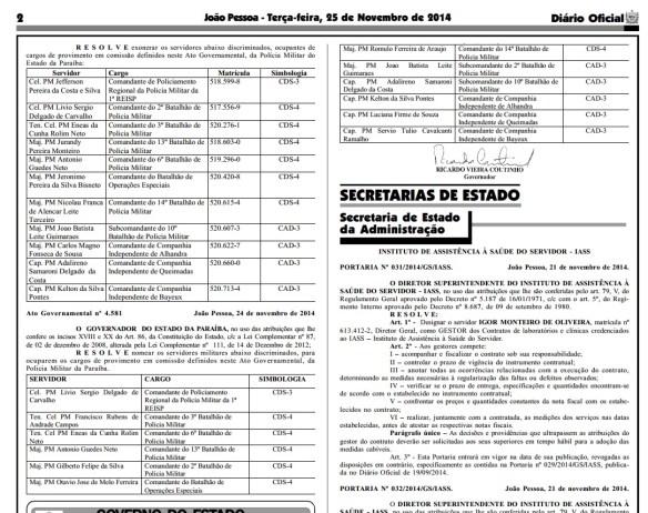 diario Oficial com reforma