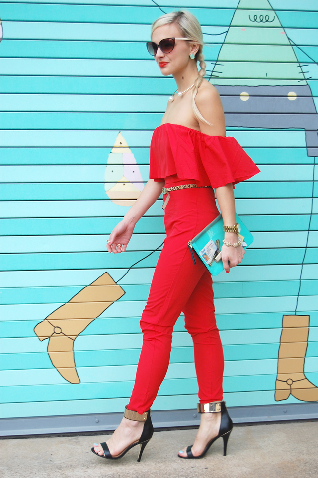 Red Ruffle Jumpsuit Outfit