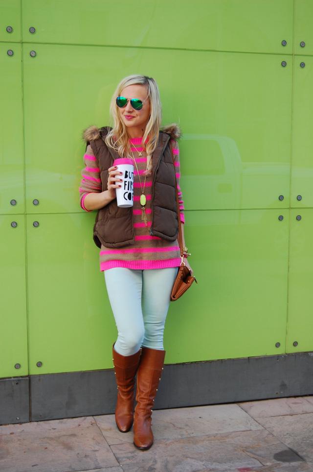 puffer-vest-striped-neon-sweater