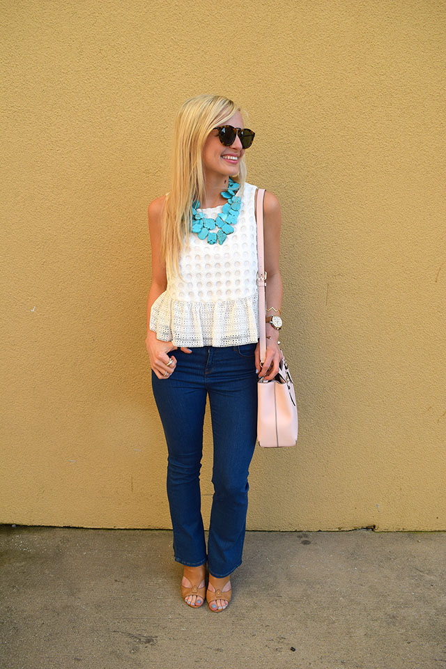 white lace peplum top