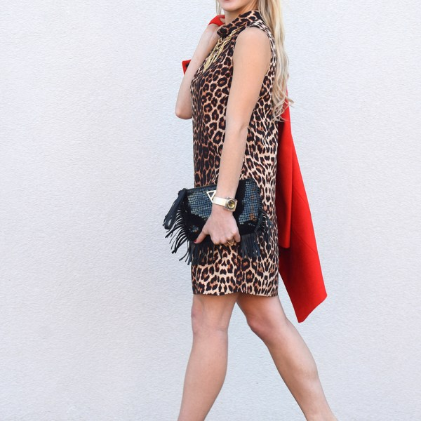 leopard and red outfit