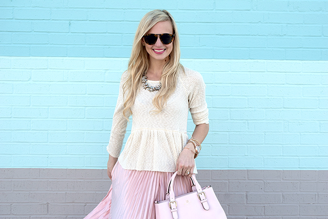 blush pink blogger outfit