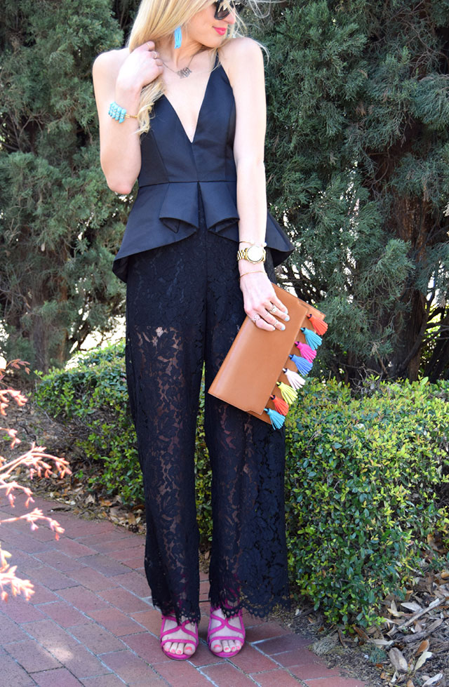 black peplum jumpsuit