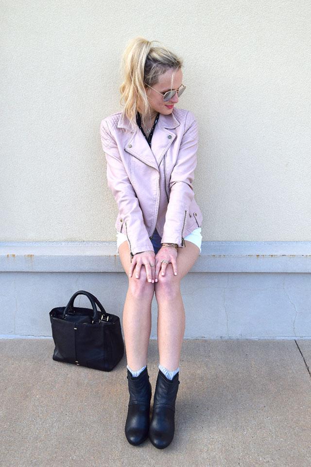 Blush Faux Leather Jacket