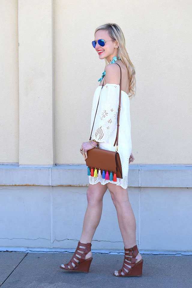 colorful tassel clutch