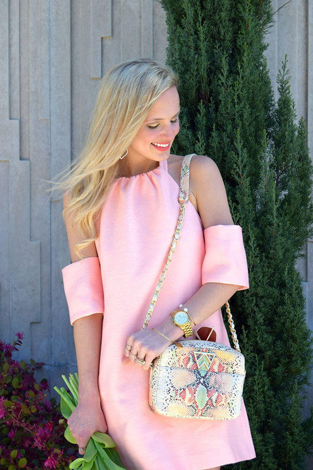 light pink off shoulder dress