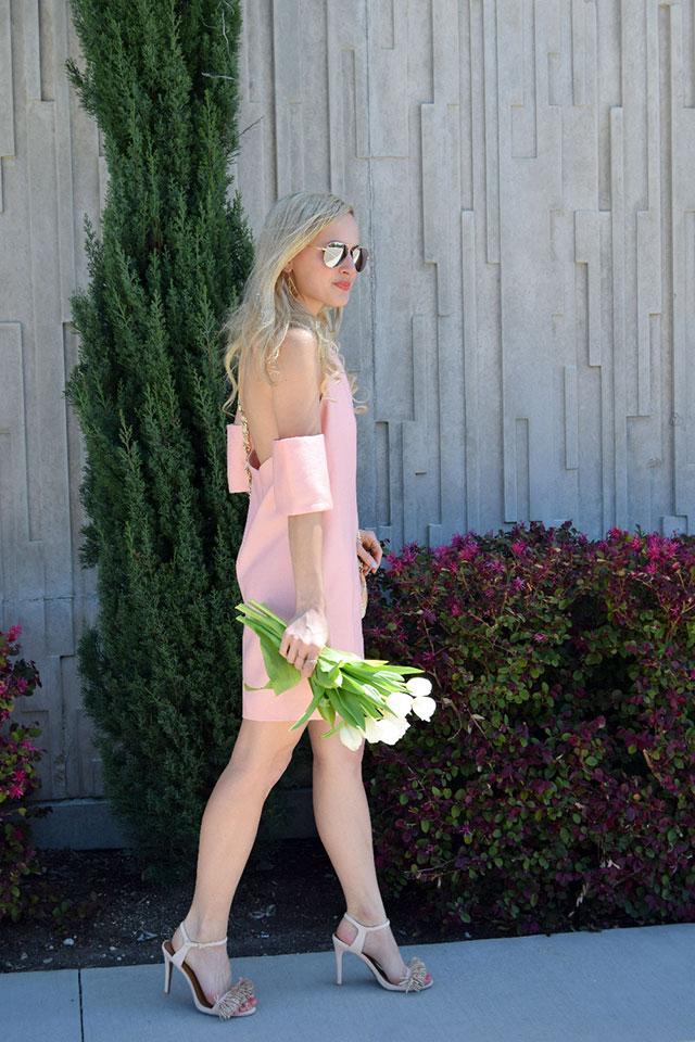off the shoulder coral dress