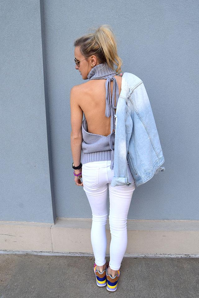 open back sleeveless turtleneck sweater