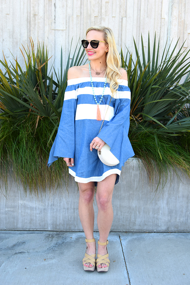 striped chambray dress