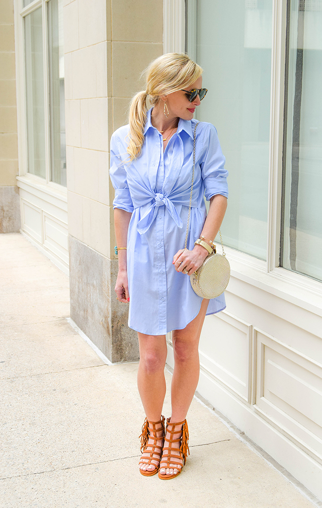 light blue shirtdress