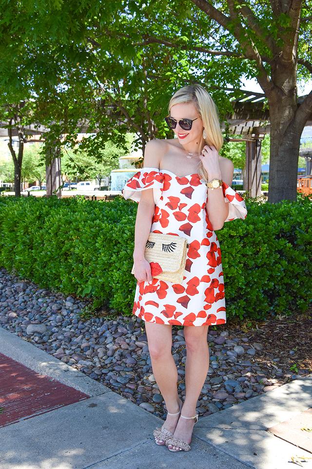 vandi-fair-blog-lauren-vandiver-dallas-texas-southern-fashion-blogger-renamed-red-petals-off-shoulder-dress-sale-shopbop-straw-clutch-nude-fringe-sandals-prada-retro-sunglasses-6