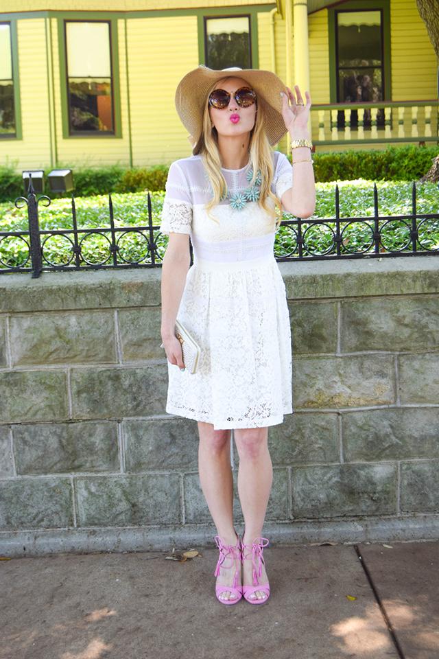 111e45f19 white lace fit and flare dress sam edelman azalea sandal ...