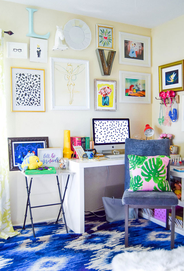 vandi-fair-blog-lauren-vandiver-dallas-texas-southern-fashion-blogger-disney-desk-style-home-office-decor-interiors-cinderella-little-mermaid-wall-art-collage-2