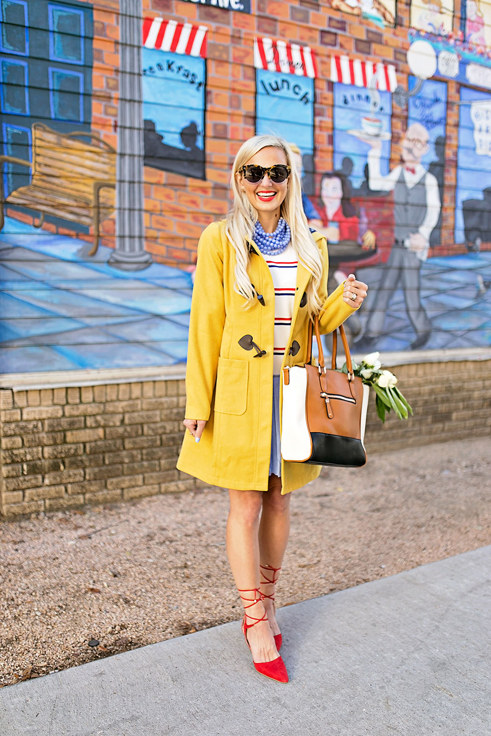 vandi-fair-blog-lauren-vandiver-dallas-texas-southern-fashion-blogger-modcloth-mustard-yellow-pea-coat-theatre-greetings-saffron-red-lace-up-pumps