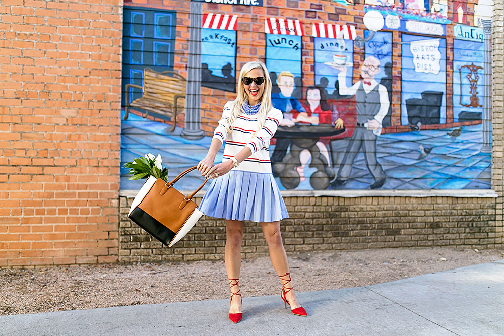 vandi-fair-blog-lauren-vandiver-dallas-texas-southern-fashion-blogger-modcloth-striped-pleated-sweater-dress-in-the-face-of-ad-varsity-three-tone-satchel-bag-triple-the-charm-cognac-1