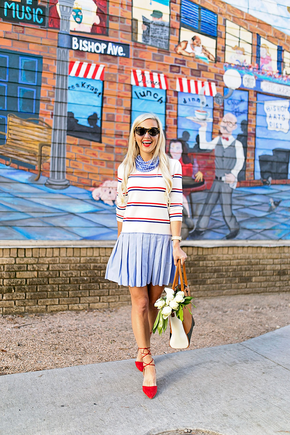vandi-fair-blog-lauren-vandiver-dallas-texas-southern-fashion-blogger-modcloth-striped-pleated-sweater-dress-in-the-face-of-ad-varsity-three-tone-satchel-bag-triple-the-charm-cognac-2
