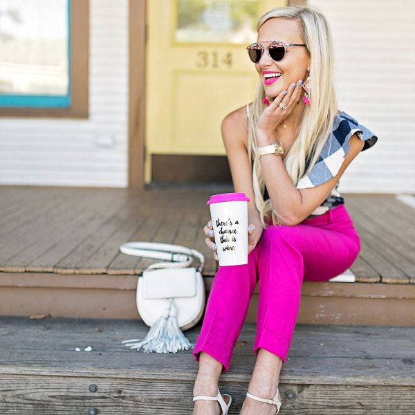 vandi-fair-blog-lauren-vandiver-dallas-texas-southern-fashion-blogger-goodnight-macaroon-flash-sale-bess-one-shoulder-gingham-top-navy-j-crew-pink-crop-pants