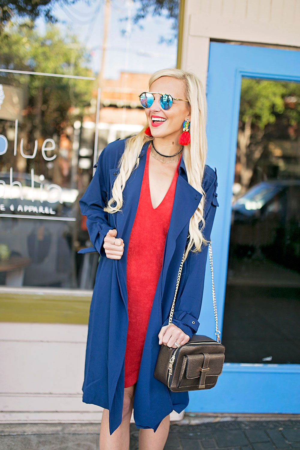 vandi-fair-blog-lauren-vandiver-dallas-texas-southern-fashion-blogger-the-styled-collection-red-halter-dress-suede-ramona-bronze-crossbody-bag-red-fringe-statement-earrings-in-the-trenches-jacket