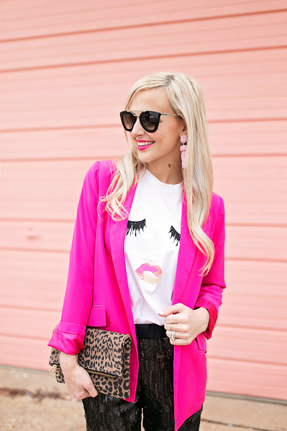 Hot Pink Blazer Amp Black Sequin Pants Outfit