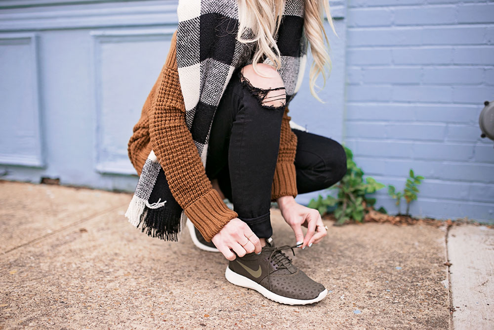 Off The Shoulder Sweater and Olive Nike Sneakers