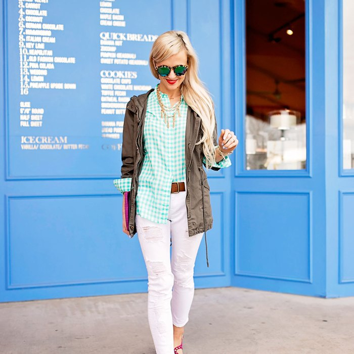 ginghan-button-down-white-skinny-jeans-spring-outfit